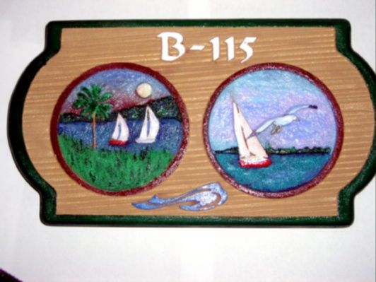 L21319 - Sandblasted and  Hand-Carved HDU Sign with Two Sailboat Scenes as Artwork