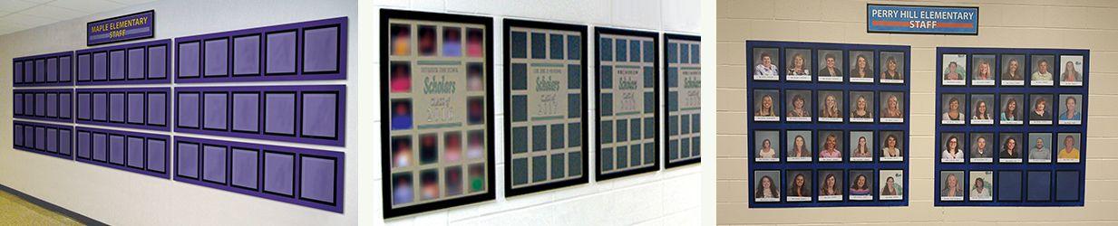 School photo signs with frames, three schools shown, school staff photos frames, custom signs