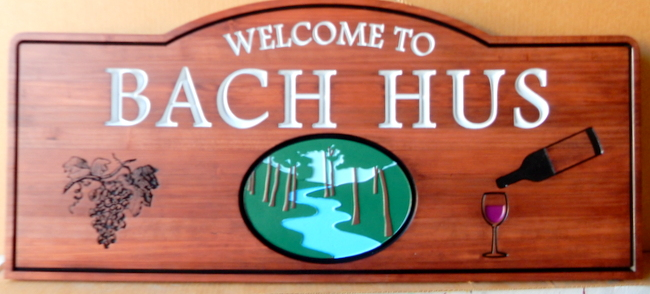 "R27352 - Carved Engraved Wood Sign ""bach Hus"" with Wooded Scene and Grape Cluster"