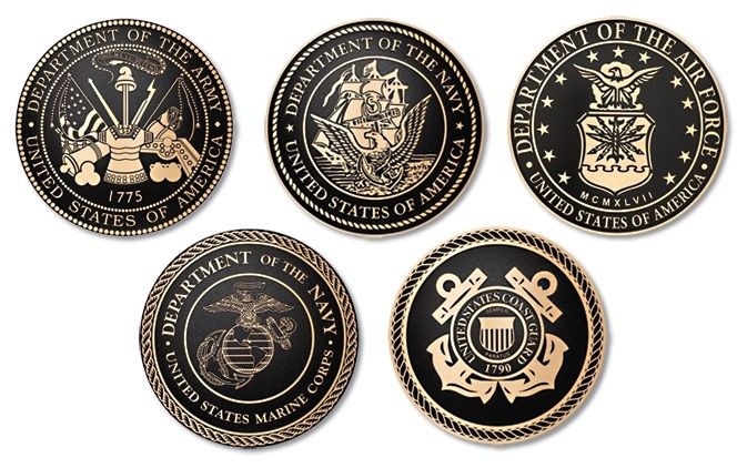M7540 - Five  Precision Machined Bronze Military Service Seal Plaques ( Army, Navy, Air Force, Marine Corps, Coat Guard)