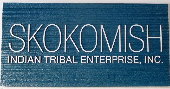 """S28092 - Elegant Carved and Sandblasted Sign Made for the """"Skokomish"""" Indian Tribal Enterprise"""