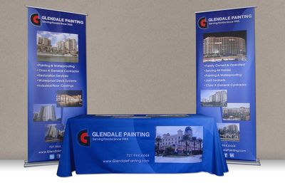 Pull Up Banners with Table Throw