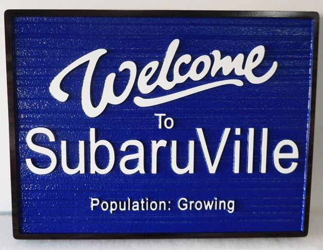 F15380 - Carved Entrance and Welcome Sign for SubaruVille. 2.5-D Raied Relief