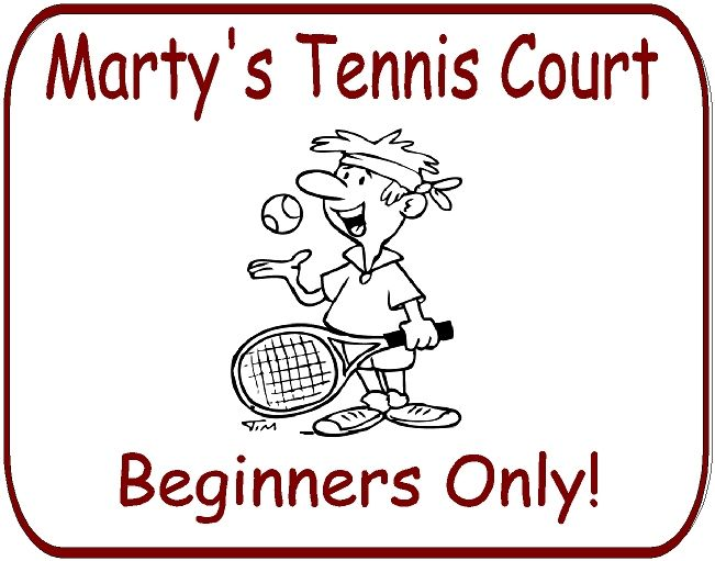 GB16844 - Carved HDU  Entrance Sign for Marty's Tennis Court