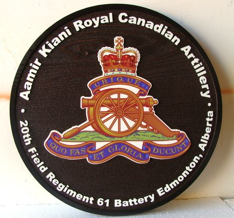 V31995 - 2.5-D Wall Plaque of the Crest and Seal of the Aamir Kiani Royal Canadian Artillery Regiment