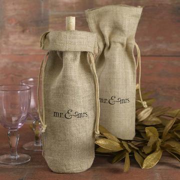 Burlap Wine Bag - Mr. & Mrs.