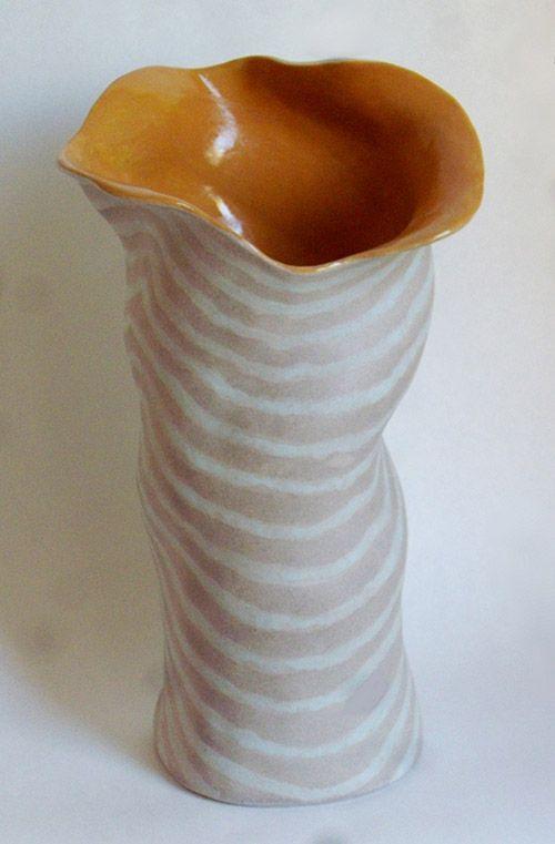 """Topo Vase #1, high fire stoneware, 12.5"""" x 7"""" x 7.5"""""""