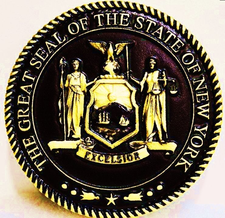W32373 - Carved 3-D HDU Plaque of the Great Seal of the State of New York