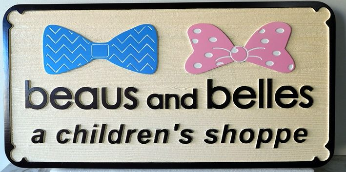 """SA28030 -  Carved Wood  Sign for """"Beaus and Belles Children's Shop"""""""