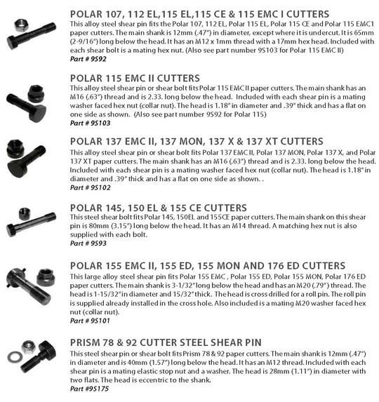 Polar 107, Polar 112, Polar 115, Polar 115EMC, Polar 137, Polar 145, Polar 155, Polar 155 EMC, Polar 176, Prism Shear pins and shear bolts