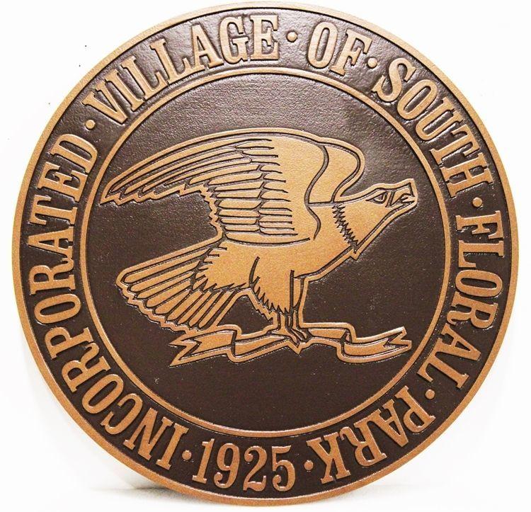 DP-2150 - Carved 2.5-D HDU Plaque Seal of the Village of South Floral Park