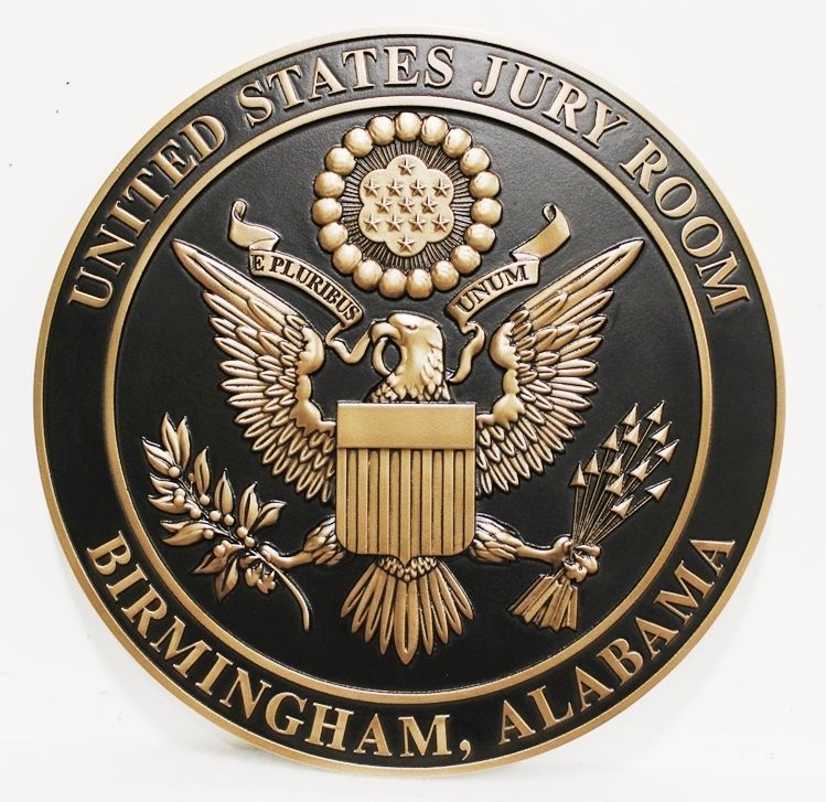 FP-1389 - Carved 3-D Bronze-Plated HDU Plaque for the  United States Jury Room, Birmingham, Alabama