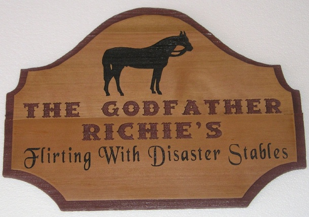 M3944 - Carved Cedar Wood Sign for Horse Stables with Engraved Lettering and Horse (Gallery 24)