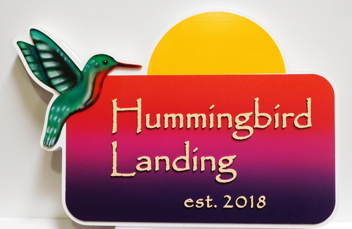 "I18508 - Carved  High-Density-Urethane (HDU)  Property Name  Sign made for a Residence., ""Hummingbird Landing"",  with Hummingbird and Sunrise as Artwork"