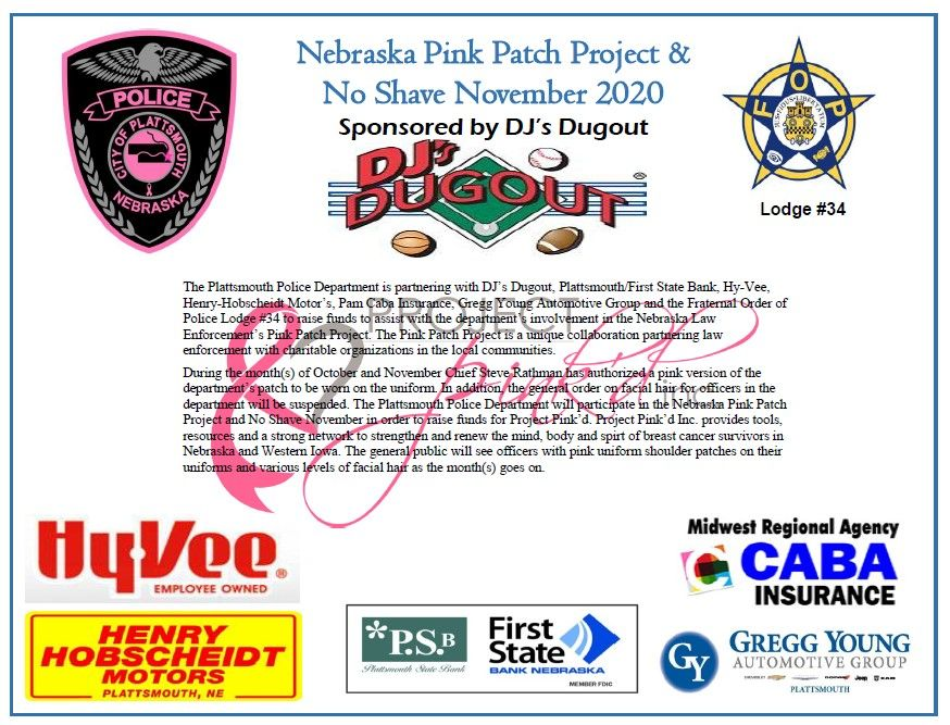 Plattsmouth Police Department Nebraska Pink Patch Project and No Shave November