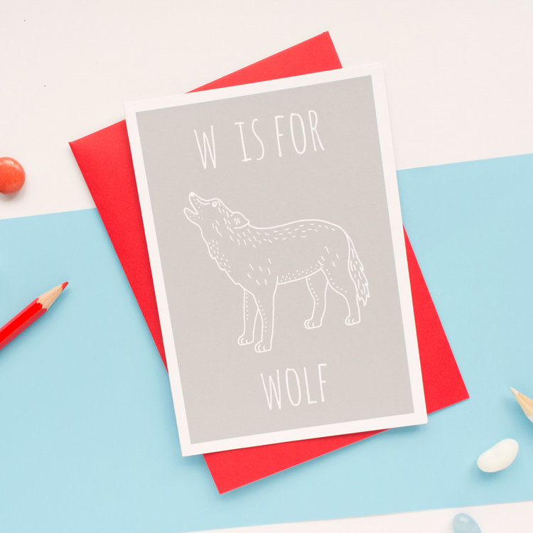 W is for Wolf Greeting Card with Envelope by Darwin Designs