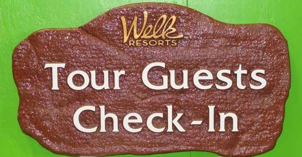 """KA20710 - Sandblasted, Faux Stone Sign for """"Tour Guest Check-In"""" for the Lawrence Welk Resort"""
