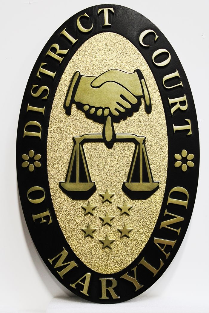GP-1205 - Carved Plaque of the Seal of a District Court in the State of Maryland, 2.5-D Brass-Plated