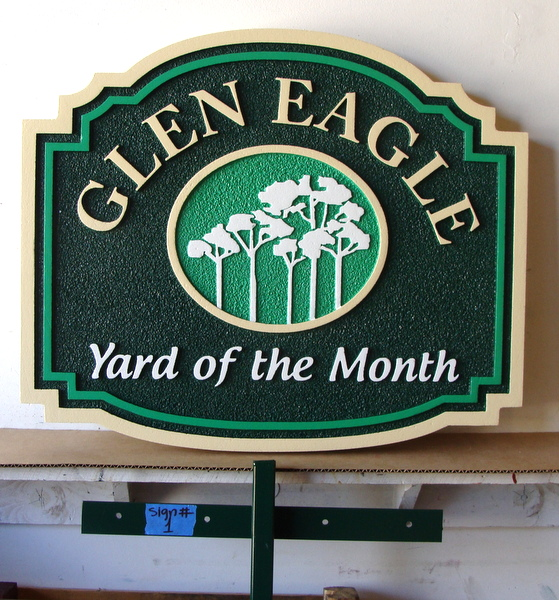 "KA20946 -  Carved HDU the ""Glen Eagle""  Home Owners' Association Yard-of-the-Month Sign with Iron Stake Sign Post"