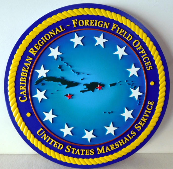 AP-2490 Carved Plaque of the Seal of Caribbean Regional Field Offices, US Marshall Services