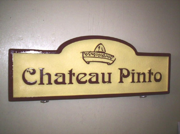 """I18220 - Carved and Sandblasted 2.5-D HDU Property Name Sign """"Chateau Pinto"""", with Outline of a Sombrero"""