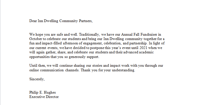 Letter from the CEO-Annual Fundraiser Update