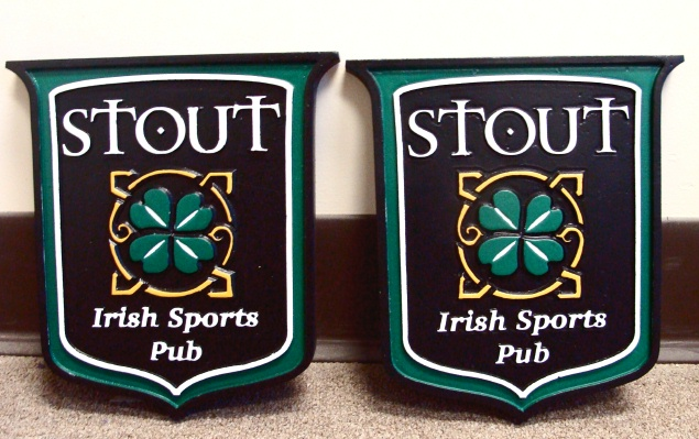 RB27570 - Irish Sports Pub Plaques with Shamrock