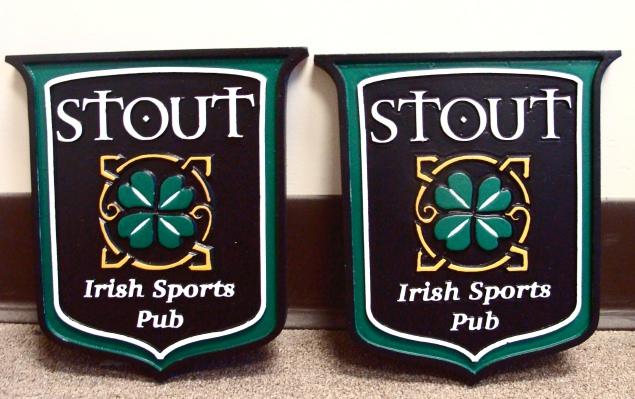 Y27570 - Irish Sports Pub Plaques with Shamrock
