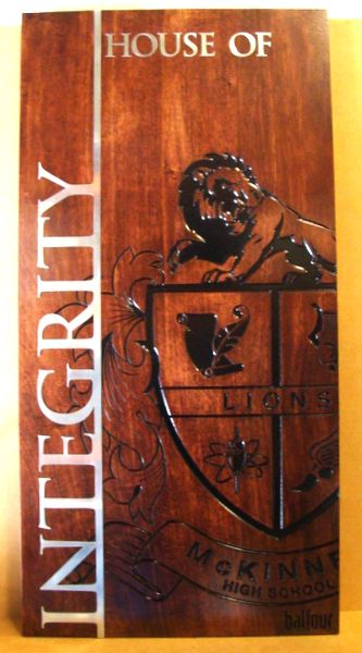 Y34800 - Carved Engraved Cedar Wall Plaque for McKinney High School, with Aluminum Overlay