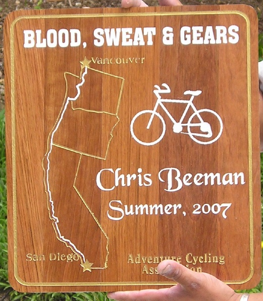 "N23028 - Carved Wood Bicycling Award Plaque ""Blood Sweat Gears"" Adventure Cycling Association, Cycling Route Map, Bicycle"