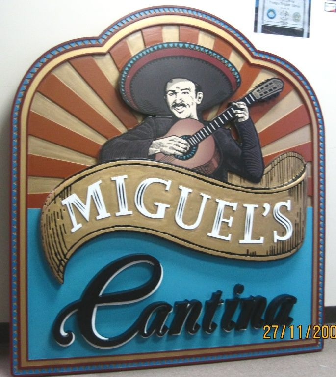 Q25022 - Carved HDU Cantina Restaurant Sign with 3D Carved Mexican Mariachi Band Singer (See Q25036)