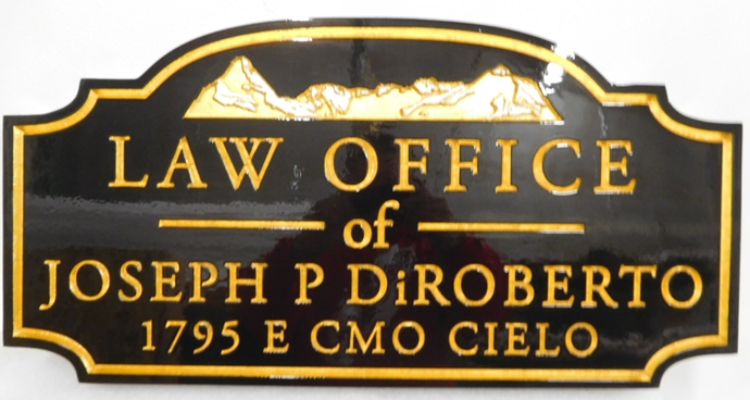 A10208 - Carved HDU Law Office Sign with Mountain Scene