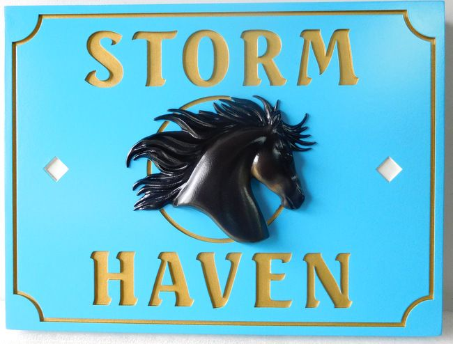 P25027 - Carved HDU sign for Horse Farm