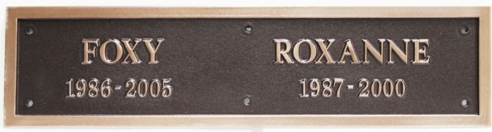 "ZP-2093 - Carved Memorial Wall Plaque for  ""Foxy"" and ""Roxanne"",  2.5-D Brass-Plated"