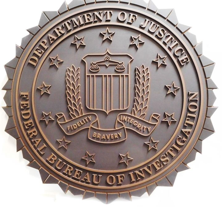 AP-2412 - Carved Plaque of the Seal of the FBI,  Department of Justice, 2.5D Outline Relief, Painted Bronze and Gray