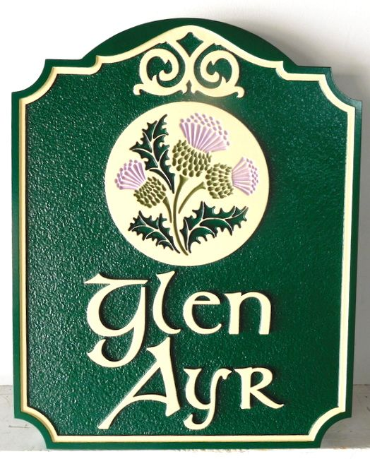 "I18404 - Residence Name Sign ""Glyn Ayr"" with Engraved Thistle as Artwork"