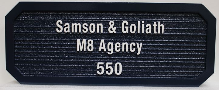 C12518 - Carved and Sandblasted Wood Grain HDU Sign for carved High-Density-Urethane (HDU) Sign for the Samson & Goliath M8 Agency, 2.5-D