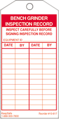 Bench Grinder Inspection Record Tag