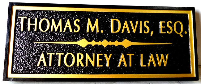 A10031 - Carved 2.5 - D Attorney Office Sign, with Sandblasted Background