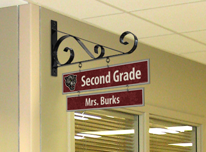 Teacher sign hanging on metal bracket, room sign with school logo, custom signs, school signs