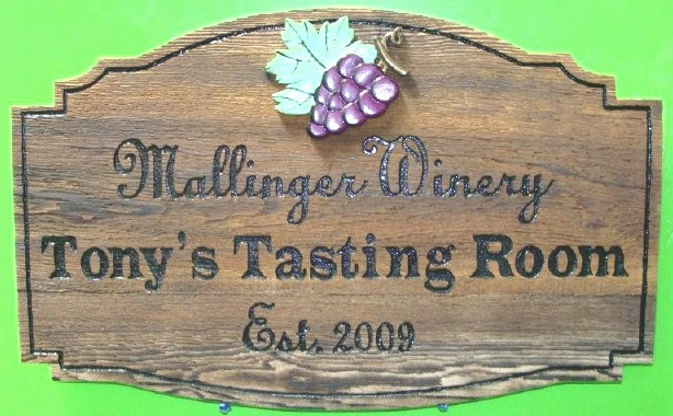 "R27345 - Rustic Stained Cedar Wall Plaque for ""Tony's Tasting Room"""