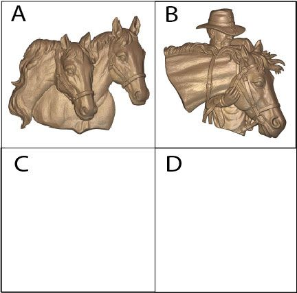 P25917 - Carved 3D Bas-Relief Equine Heads