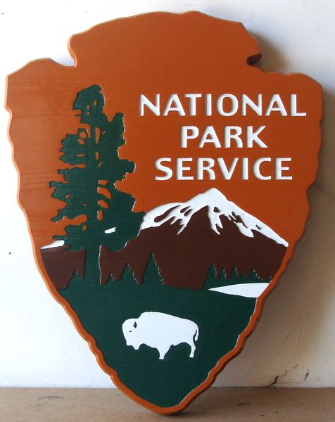 "AP-5660 - Carved Plaque of the Logo of the US National Park Service,""Arrowhead"" Artist Painted"