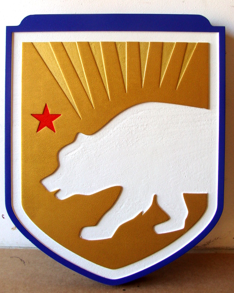 U30341 - Carved 2.5D Wall Plaque of the Flag of California, made for the TSA