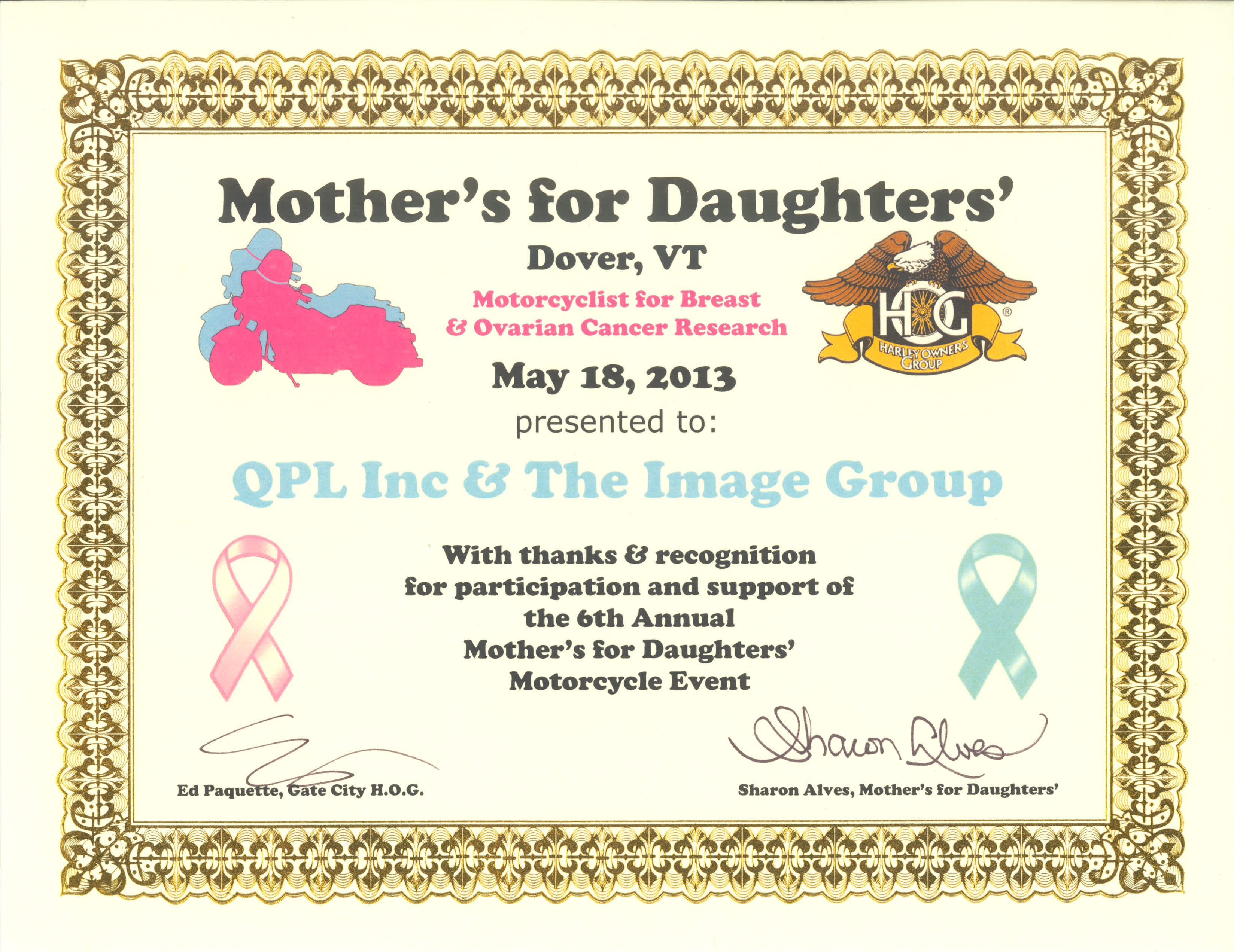 QPL Inc & The Image Group Support Breast and Ovarian Cancer