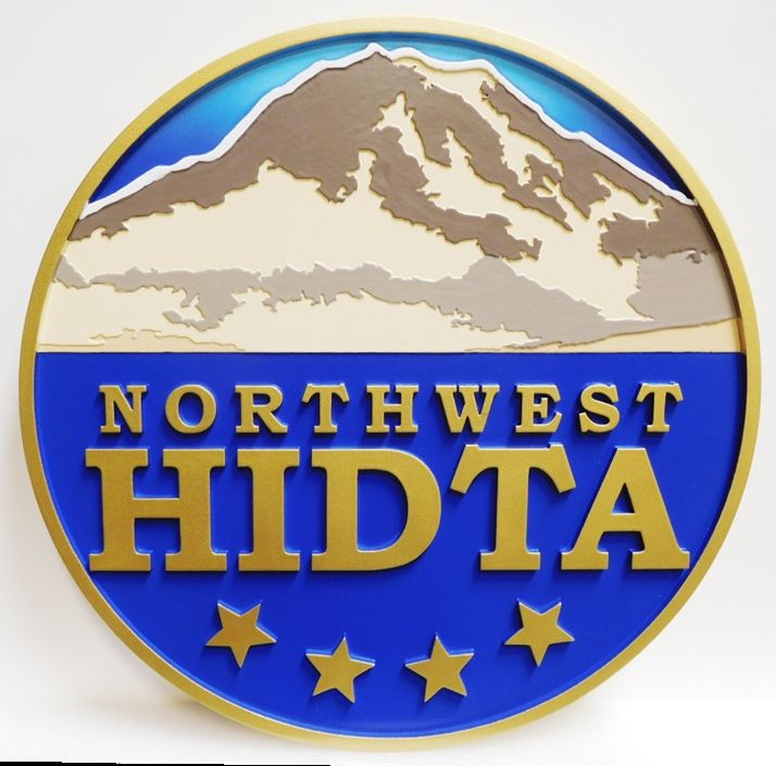 AP-2548 - Carved Plaque of the Emblem of the Northwest  High-Intensity Drug Trafficking Area  (HITDA) , DEA