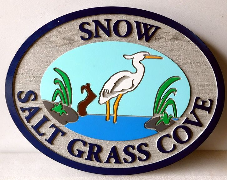 """L21641 - Engraved and Sandblasted  Property Name Sign, """"Salt Grass Cove"""",with Egret Standing in Water"""
