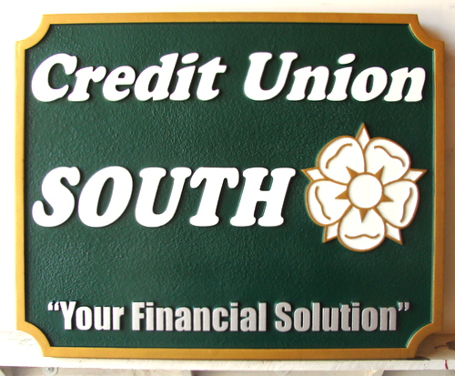 C12208 - Carved and Sandblasted HDU  Credit Union Sign