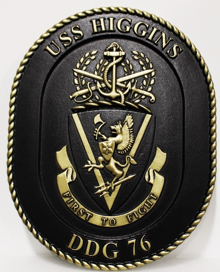 JP-1291 - Carved 3-D Bas-Relief HDU Plaque  of the Navy Ship Crest of the USS Higgins, DDG 76