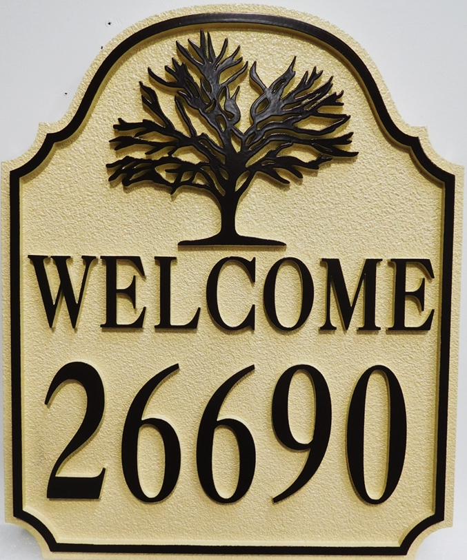 M22111 - Carved  Cabin Welcome and Address Sign, 2.5-D Artist-Painted, with Oak Tree as Artwork